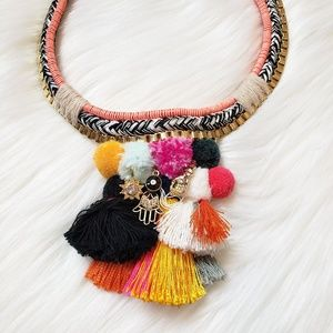 NWT Express Pom & Tassel woven statement necklace